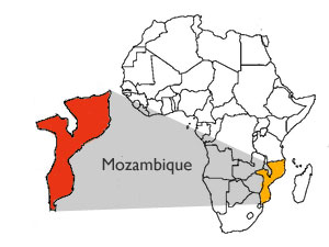africa map showing mozambique